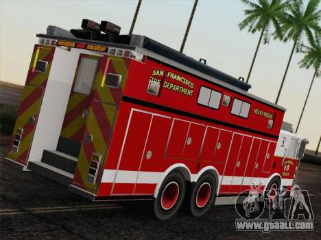 Pierce Walk-in SFFD Heavy Rescue for GTA San Andreas back left view