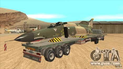 Flatbed trailer with dismantled F-4E Phantom for GTA San Andreas right view