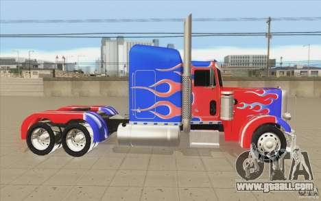 Peterbilt 379 Optimus Prime for GTA San Andreas inner view