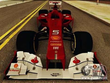 Ferrari F2012 for GTA San Andreas inner view