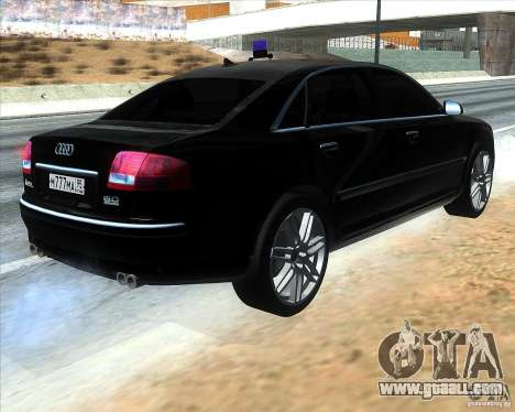 Audi A8L W12 for GTA San Andreas back left view