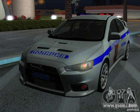 Mitsubishi Lancer Evolution X PPP Police for GTA San Andreas inner view