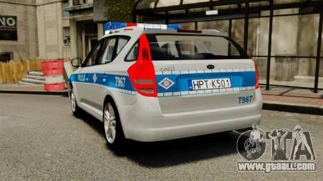 Kia Ceed 2011 SW Polish Police ELS for GTA 4 back left view