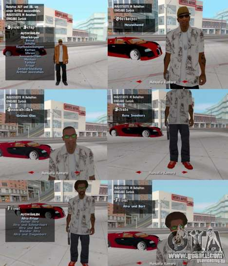 A change of clothes, tattoos and hairstyles for GTA San Andreas