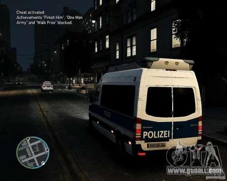 Mercedes Sprinter German Police for GTA 4 back left view