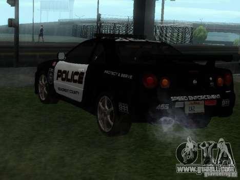 Nissan Skyline R34 Police for GTA San Andreas left view