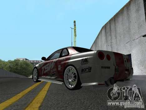 Nissan Skyline R 34 for GTA San Andreas right view