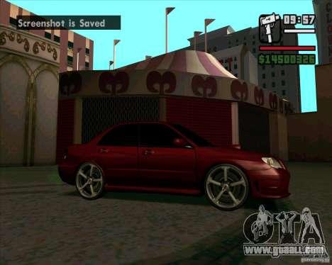 Subaru Impreza tuning for GTA San Andreas left view