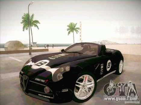 Alfa Romeo 8C Spider for GTA San Andreas inner view