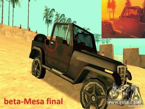 Mesa From Beta Version for GTA San Andreas right view