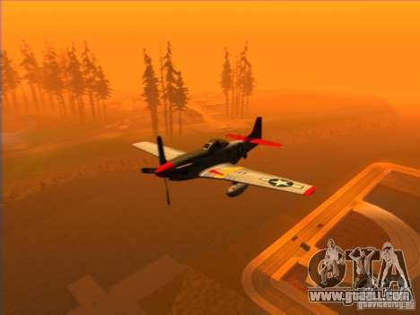 P51D Mustang Red Tails for GTA San Andreas back left view