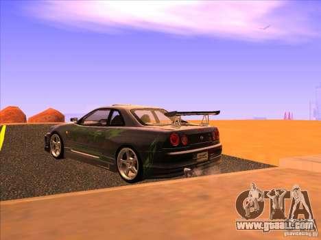 Nissan Skyline R34 Tunable for GTA San Andreas left view