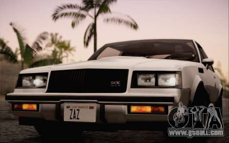 Buick GNX 1987 for GTA San Andreas back left view
