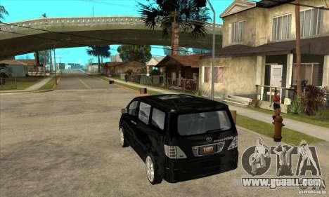 Toyota Alphard Hybrid for GTA San Andreas back left view
