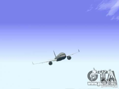 Boeing 757-200 United Airlines for GTA San Andreas back left view