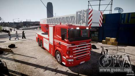 Scania Fire Ladder v1.1 Emerglights red [ELS] for GTA 4 right view