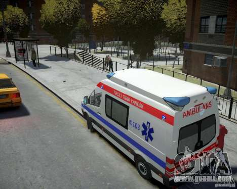 Mercedes-Benz Sprinter Azerbaijan Ambulance v0.2 for GTA 4 back left view