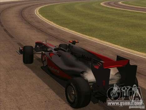 McLaren MP4-25 F1 for GTA San Andreas inner view