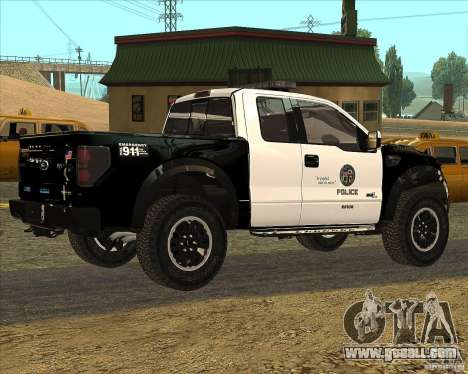 Ford Raptor Police for GTA San Andreas back left view