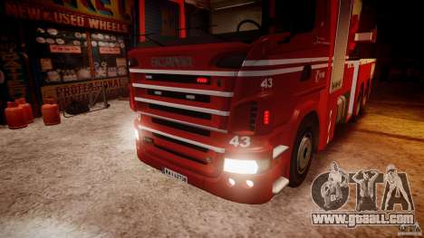 Scania Fire Ladder v1.1 Emerglights red [ELS] for GTA 4 side view