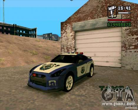 Nissan GTR35 Police Undercover for GTA San Andreas back left view
