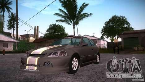 Honda Civic Tuneable for GTA San Andreas inner view