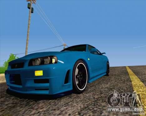 Nissan Skyline R34 Z-Tune V3 for GTA San Andreas back view