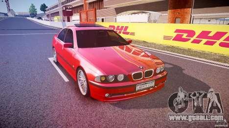 BMW 530I E39 stock chrome wheels for GTA 4 back view