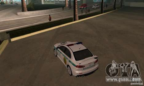 Mitsubishi Lancer Evolution X Police Of Kazakhst for GTA San Andreas inner view