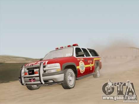Chevrolet Suburban SFFD for GTA San Andreas wheels