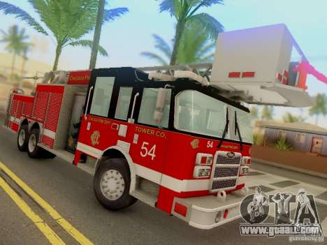 Pierce Tower Ladder 54 Chicago Fire Department for GTA San Andreas back view