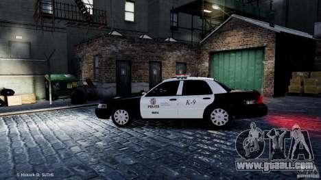 Ford Crown Victoria CVPI-K9 V6.9A-LAPD-ELS for GTA 4 left view