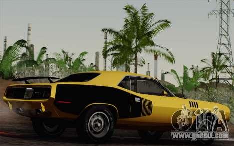 Plymouth Hemi Cuda 426 1971 for GTA San Andreas inner view