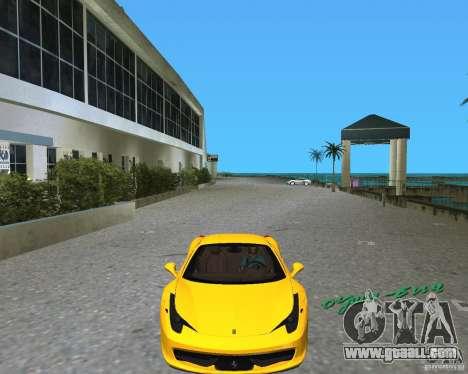 Ferrari 458 Italia for GTA Vice City left view