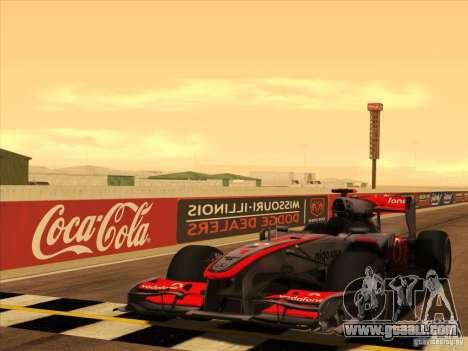McLaren MP4-25 F1 for GTA San Andreas upper view