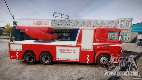 Scania Fire Ladder v1.1 Emerglights red [ELS] for GTA 4 back view