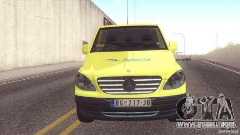 Mercedes Benz Vito Pošta Srbije for GTA San Andreas back left view