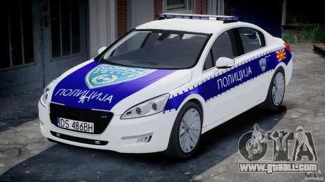 Peugeot 508 Macedonian Police [ELS] for GTA 4 back view