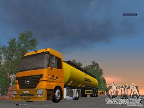 Trailer for Mercedes-Benz Actros Rosneft for GTA San Andreas back view