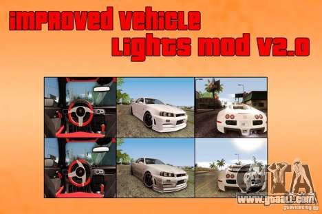 Improved Vehicle Lights Mod v2.0 for GTA San Andreas