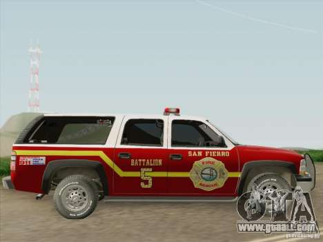 Chevrolet Suburban SFFD for GTA San Andreas back view