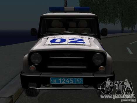 UAZ-315195 Hunter Police for GTA San Andreas back view