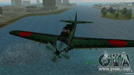 Zero Fighter Plane for GTA Vice City back view