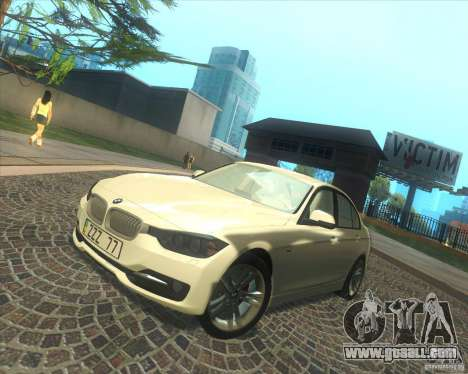 BMW 3 Series F30 2012 for GTA San Andreas bottom view