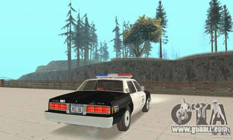 Chevrolet Caprice Interceptor 1986 Police for GTA San Andreas back left view