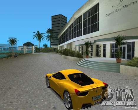 Ferrari 458 Italia for GTA Vice City right view