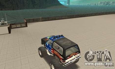 Chevrolet Blazer K5 Monster Skin 3 for GTA San Andreas back left view