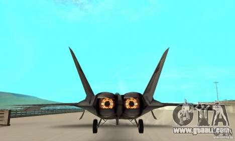 F-22 Starscream for GTA San Andreas inner view