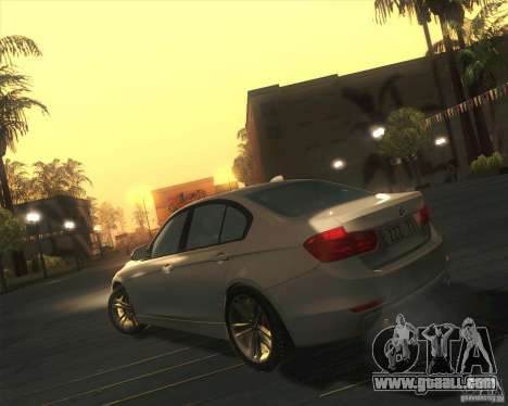 BMW 3 Series F30 2012 for GTA San Andreas back left view