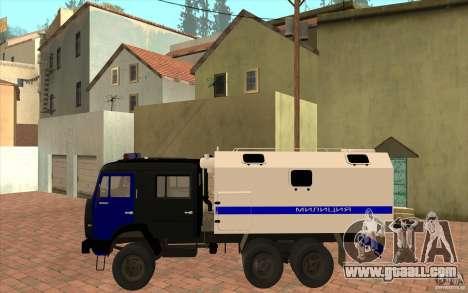 Kamaz Police for GTA San Andreas back left view